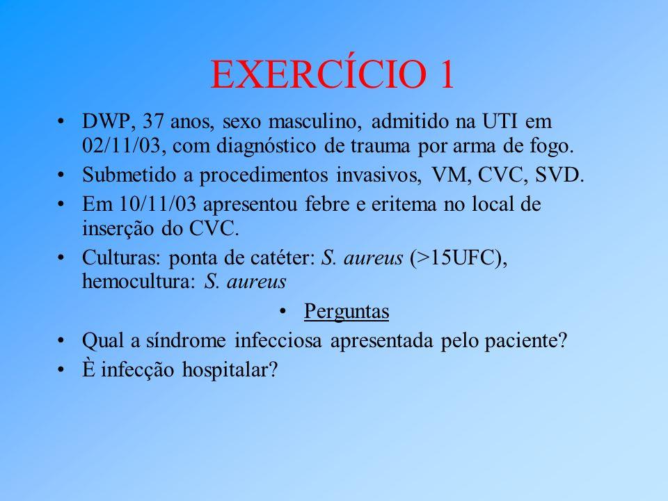 EXERCÍCIO 1 DWP, 37 anos, sexo masculino, admitido na UTI em 02/11/03, com diagnóstico de trauma por arma de fogo.