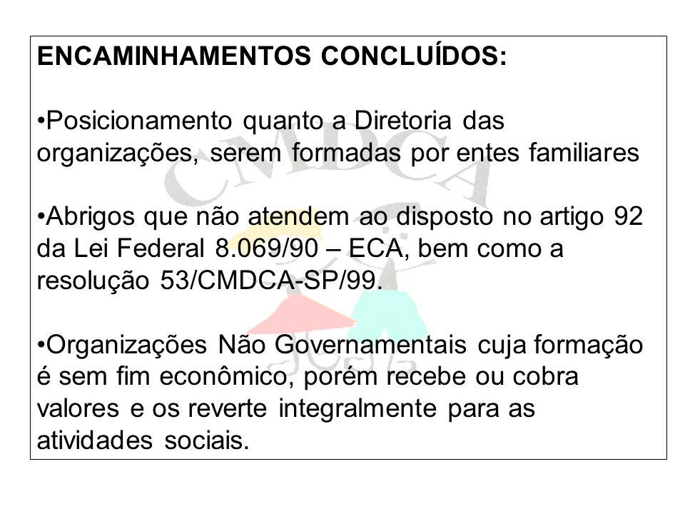 ENCAMINHAMENTOS CONCLUÍDOS: