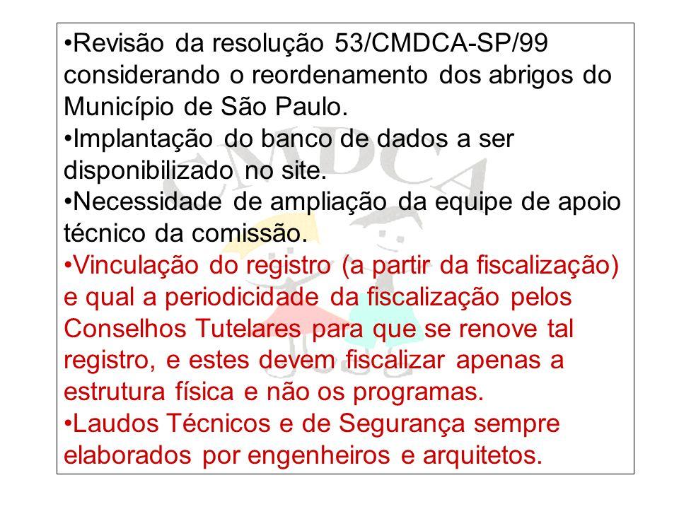 Revisão da resolução 53/CMDCA-SP/99 considerando o reordenamento dos abrigos do Município de São Paulo.