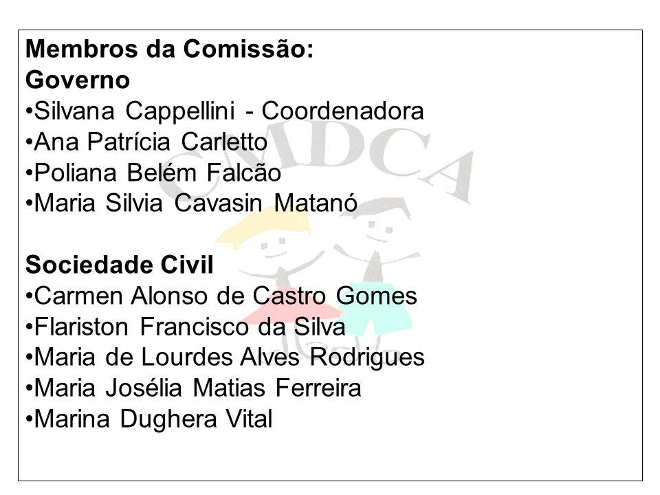 Membros da Comissão: Governo. Silvana Cappellini - Coordenadora. Ana Patrícia Carletto. Poliana Belém Falcão.