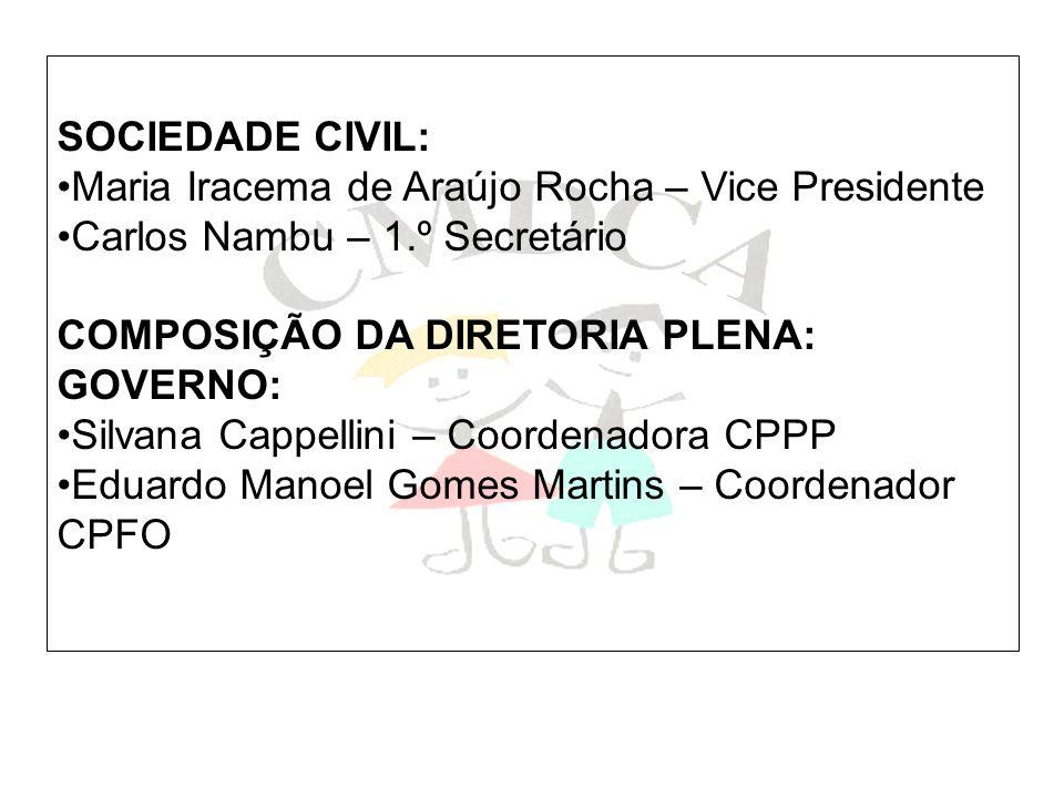 SOCIEDADE CIVIL: Maria Iracema de Araújo Rocha – Vice Presidente. Carlos Nambu – 1.º Secretário. COMPOSIÇÃO DA DIRETORIA PLENA: