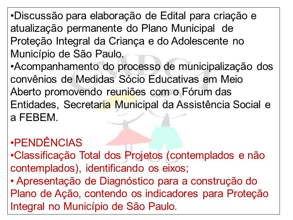 Discussão para elaboração de Edital para criação e atualização permanente do Plano Municipal de Proteção Integral da Criança e do Adolescente no Município de São Paulo.