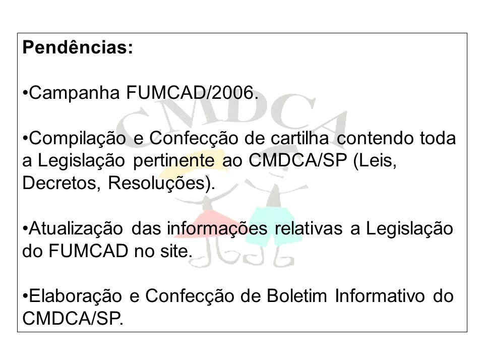 Pendências: Campanha FUMCAD/2006. Compilação e Confecção de cartilha contendo toda a Legislação pertinente ao CMDCA/SP (Leis, Decretos, Resoluções).