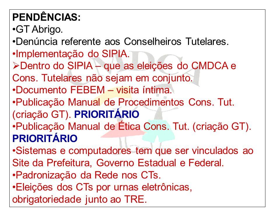 PENDÊNCIAS: GT Abrigo. Denúncia referente aos Conselheiros Tutelares. Implementação do SIPIA.