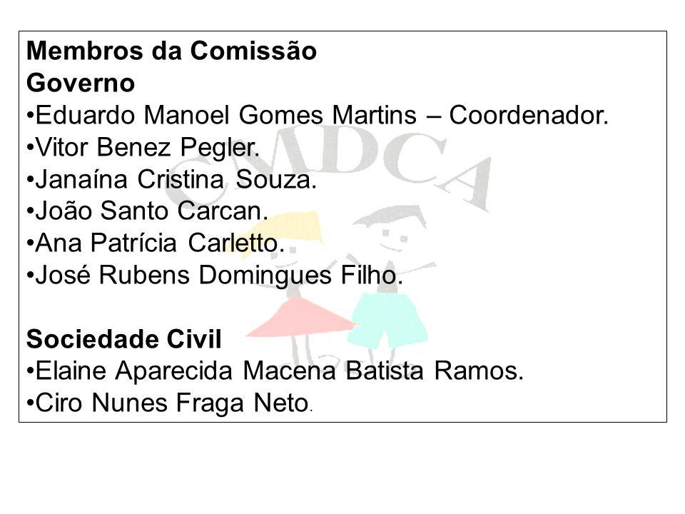 Membros da Comissão Governo. Eduardo Manoel Gomes Martins – Coordenador. Vitor Benez Pegler. Janaína Cristina Souza.