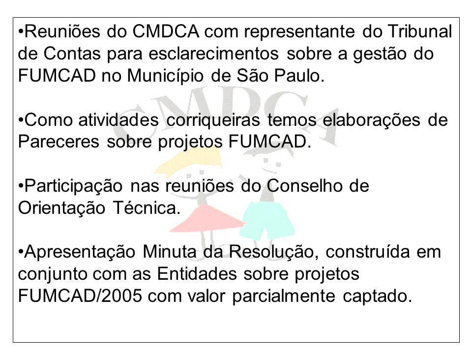 Reuniões do CMDCA com representante do Tribunal de Contas para esclarecimentos sobre a gestão do FUMCAD no Município de São Paulo.