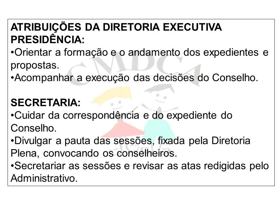 ATRIBUIÇÕES DA DIRETORIA EXECUTIVA