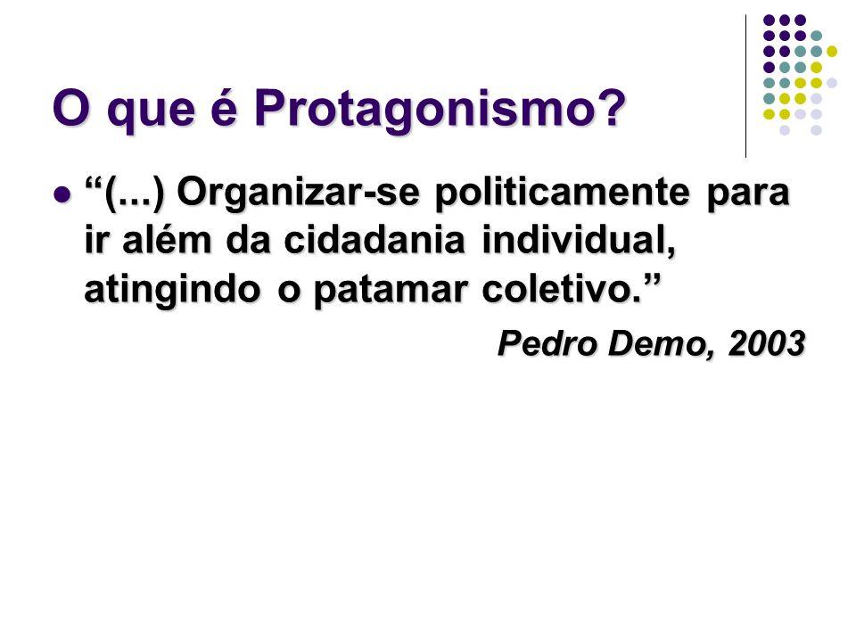 O que é Protagonismo (...) Organizar-se politicamente para ir além da cidadania individual, atingindo o patamar coletivo.