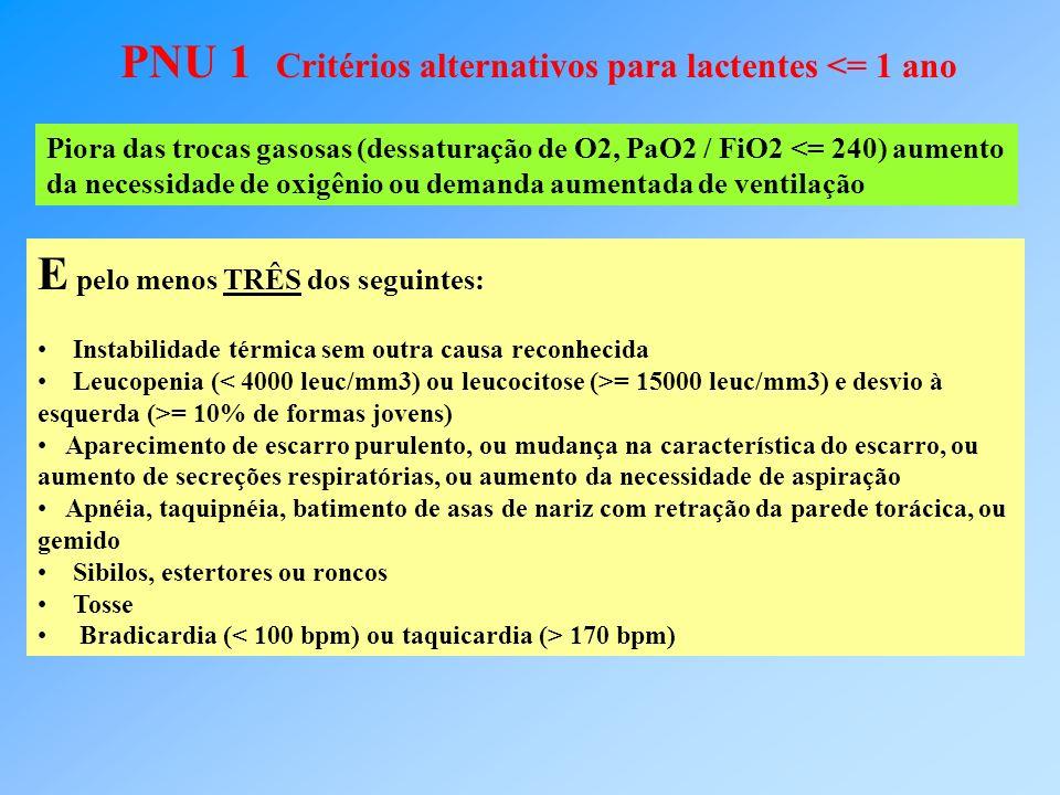 PNU 1 Critérios alternativos para lactentes <= 1 ano