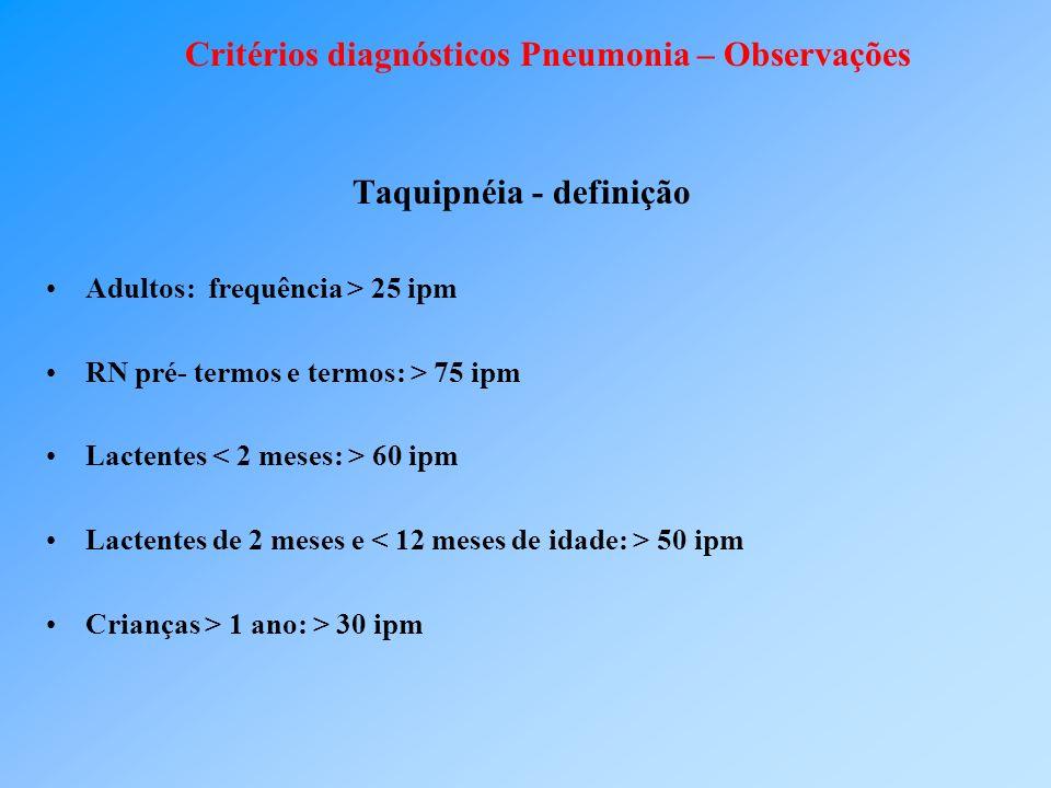 Critérios diagnósticos Pneumonia – Observações
