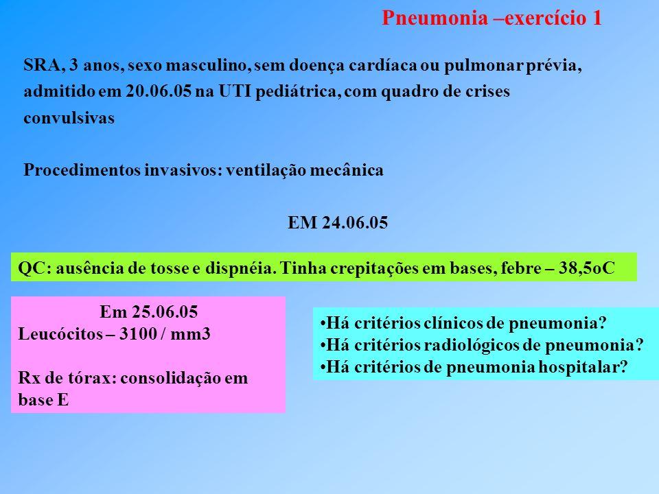 Pneumonia –exercício 1 SRA, 3 anos, sexo masculino, sem doença cardíaca ou pulmonar prévia,