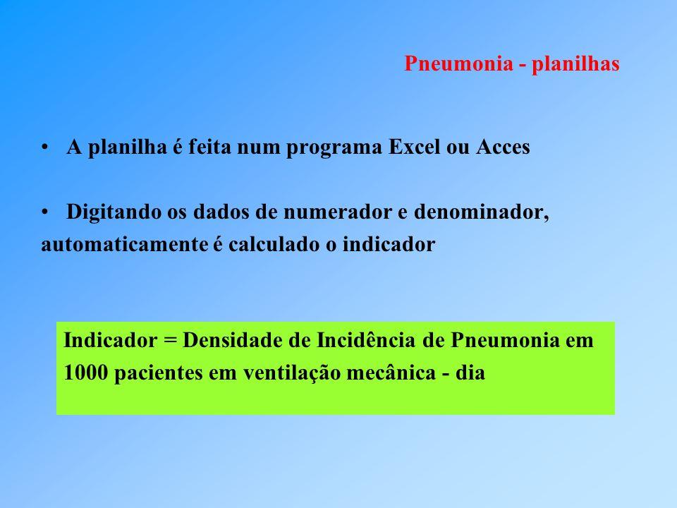 Pneumonia - planilhas A planilha é feita num programa Excel ou Acces. Digitando os dados de numerador e denominador,