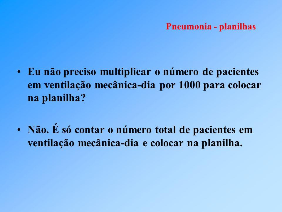 Pneumonia - planilhas Eu não preciso multiplicar o número de pacientes em ventilação mecânica-dia por 1000 para colocar na planilha