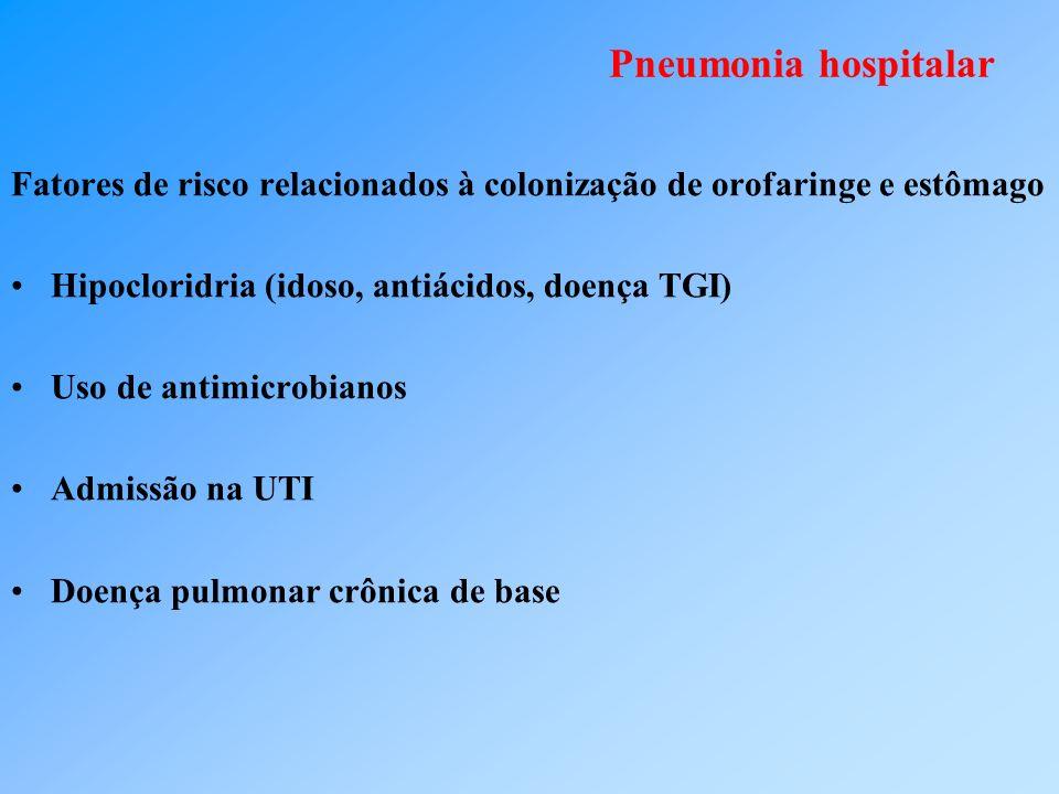 Pneumonia hospitalar Fatores de risco relacionados à colonização de orofaringe e estômago. Hipocloridria (idoso, antiácidos, doença TGI)