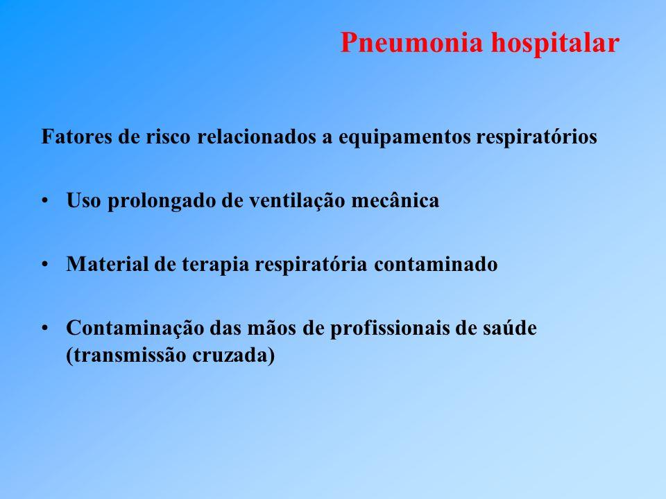 Pneumonia hospitalar Fatores de risco relacionados a equipamentos respiratórios. Uso prolongado de ventilação mecânica.