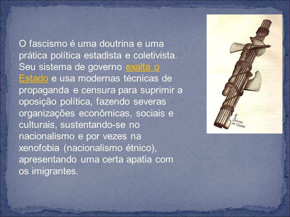 O fascismo é uma doutrina e uma prática política estadista e coletivista.