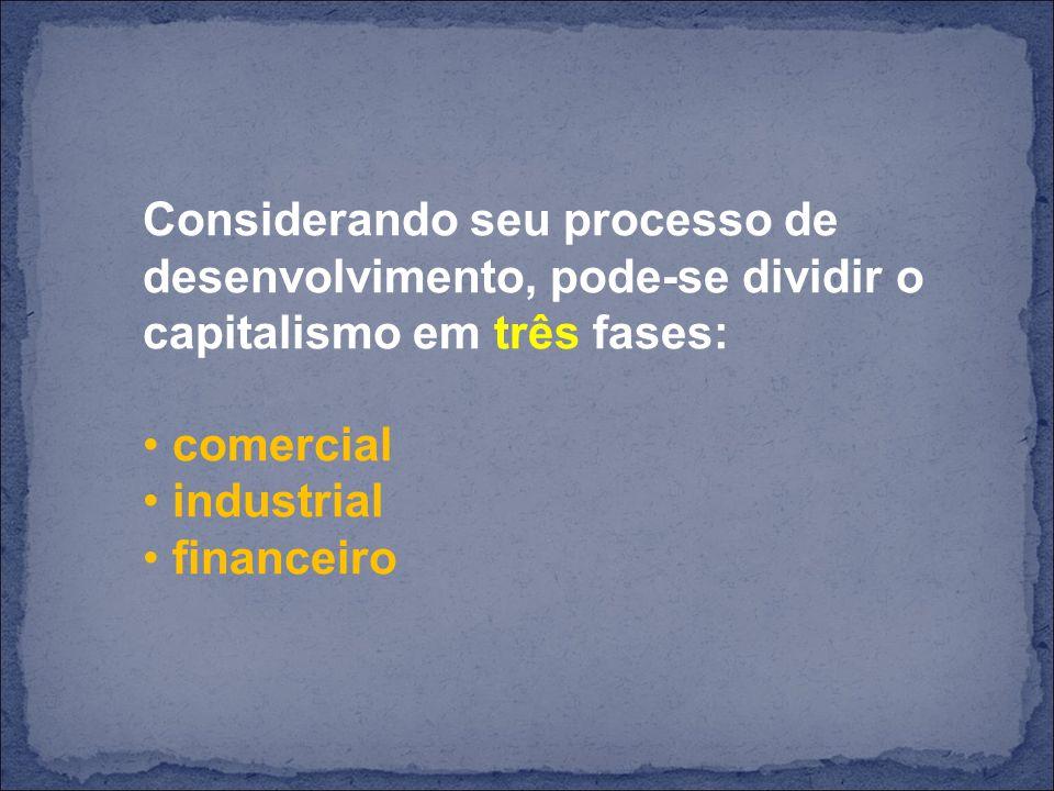 Considerando seu processo de desenvolvimento, pode-se dividir o capitalismo em três fases: