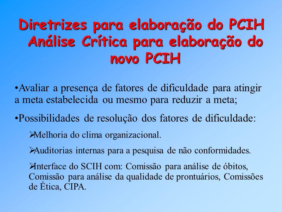Análise Crítica para elaboração do novo PCIH