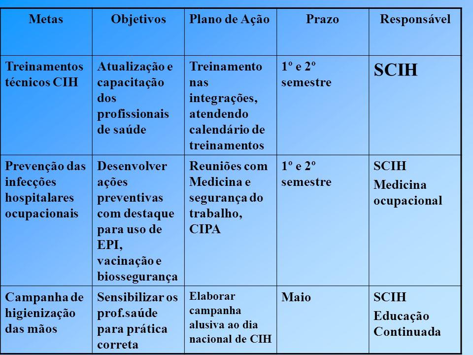 SCIH Metas Objetivos Plano de Ação Prazo Responsável