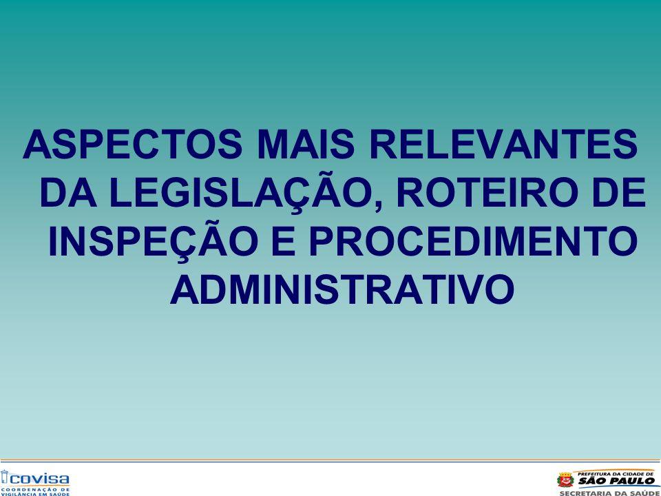 ASPECTOS MAIS RELEVANTES DA LEGISLAÇÃO, ROTEIRO DE INSPEÇÃO E PROCEDIMENTO ADMINISTRATIVO