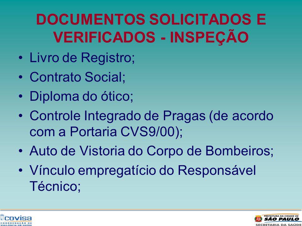 DOCUMENTOS SOLICITADOS E VERIFICADOS - INSPEÇÃO