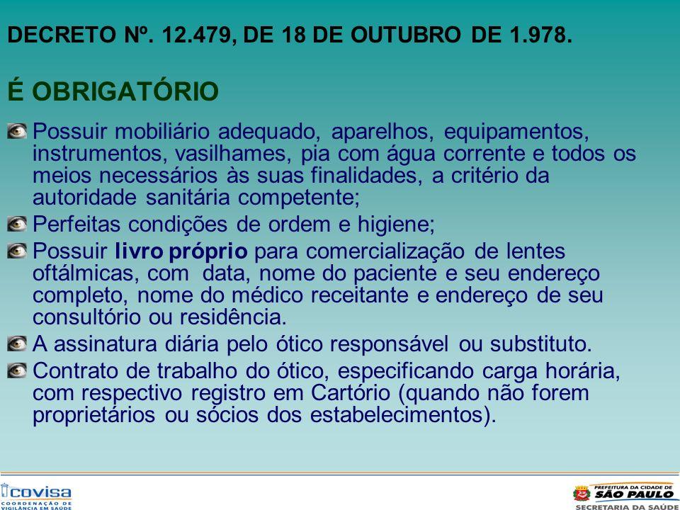 DECRETO Nº. 12.479, DE 18 DE OUTUBRO DE 1.978. É OBRIGATÓRIO