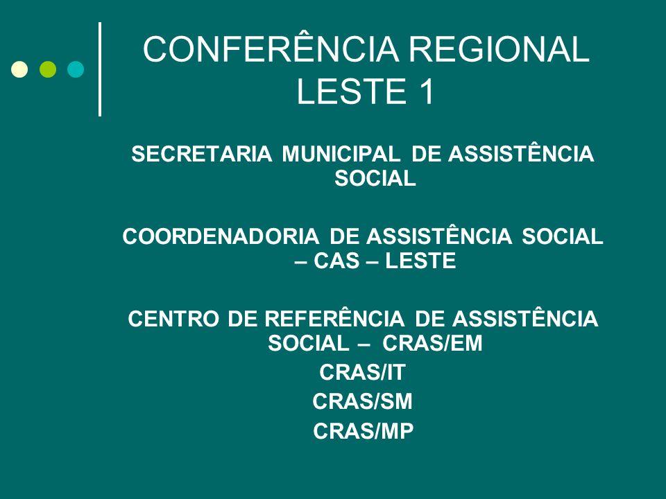 CONFERÊNCIA REGIONAL LESTE 1