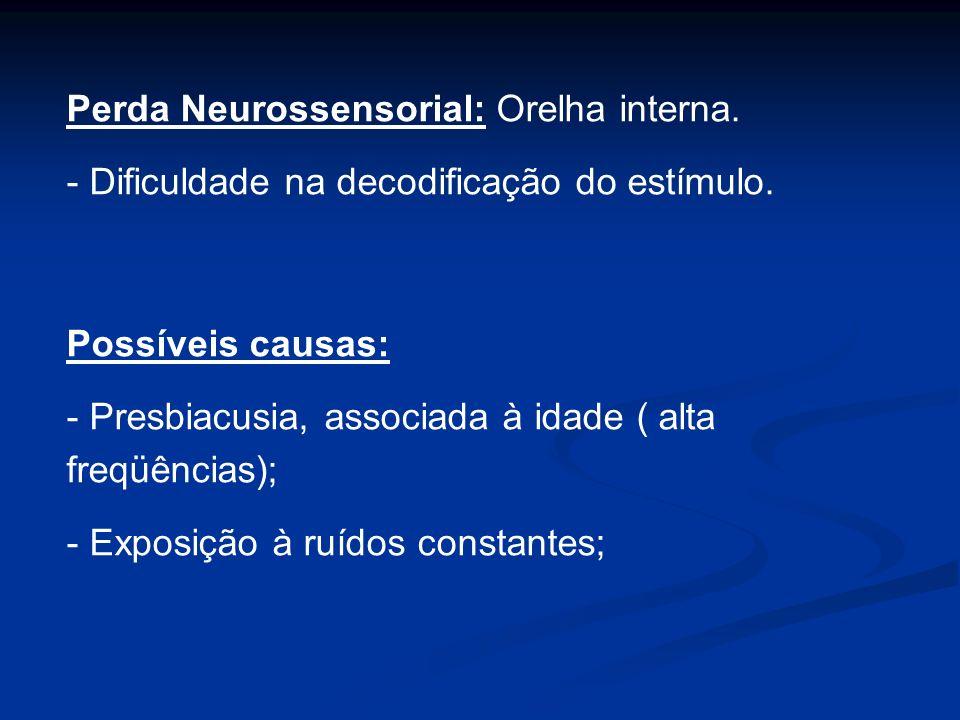 Perda Neurossensorial: Orelha interna.