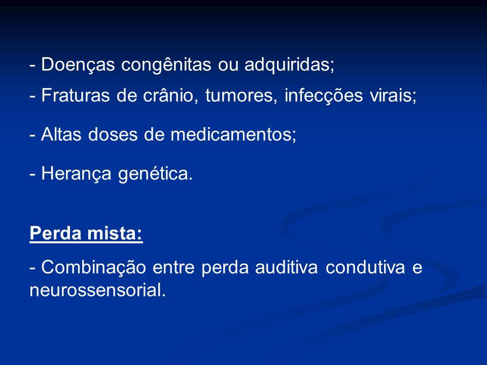 - Doenças congênitas ou adquiridas;