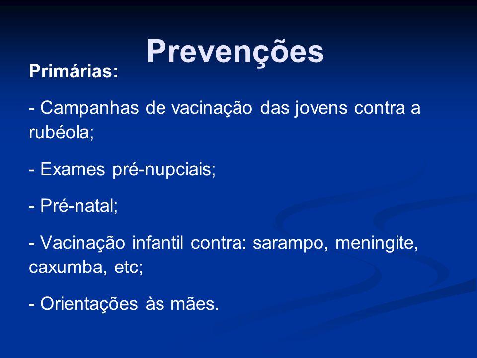 Prevenções Primárias: - Campanhas de vacinação das jovens contra a