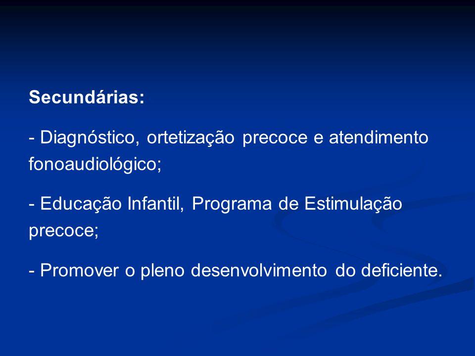 Secundárias: - Diagnóstico, ortetização precoce e atendimento. fonoaudiológico; - Educação Infantil, Programa de Estimulação.