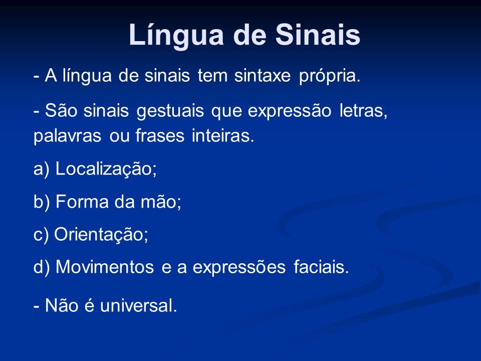 Língua de Sinais - A língua de sinais tem sintaxe própria.