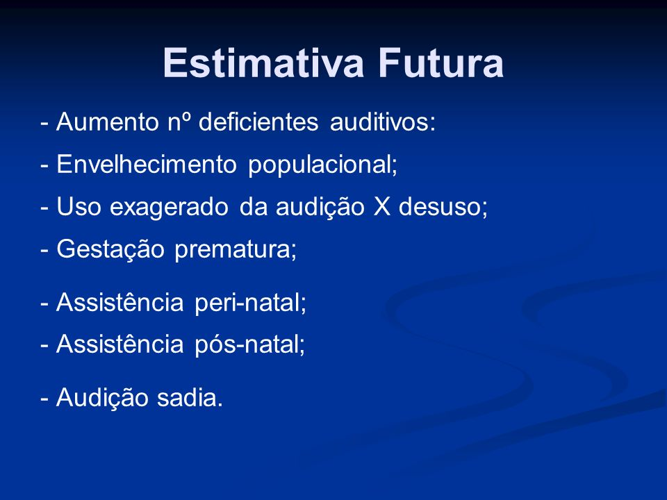 Estimativa Futura - Aumento nº deficientes auditivos:
