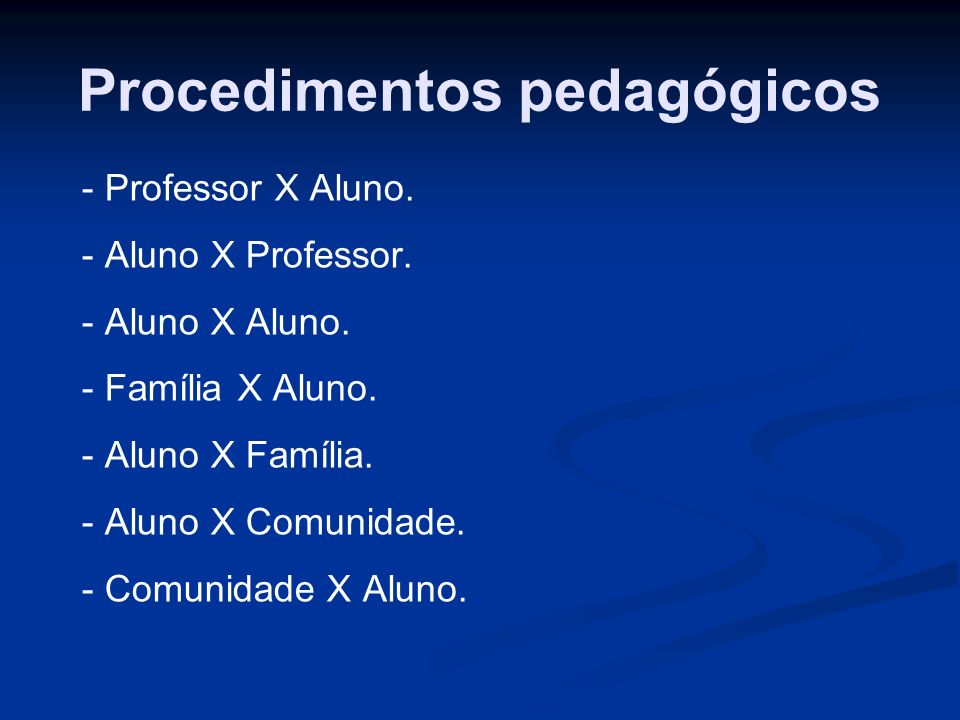 Procedimentos pedagógicos