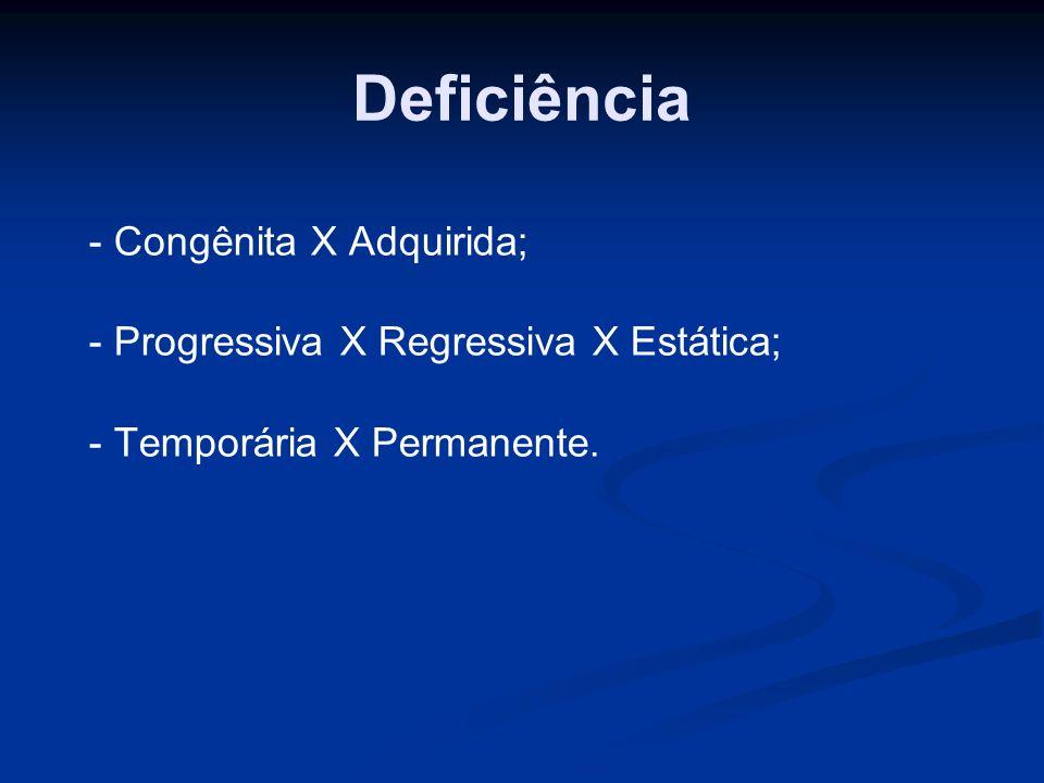 Deficiência - Congênita X Adquirida;