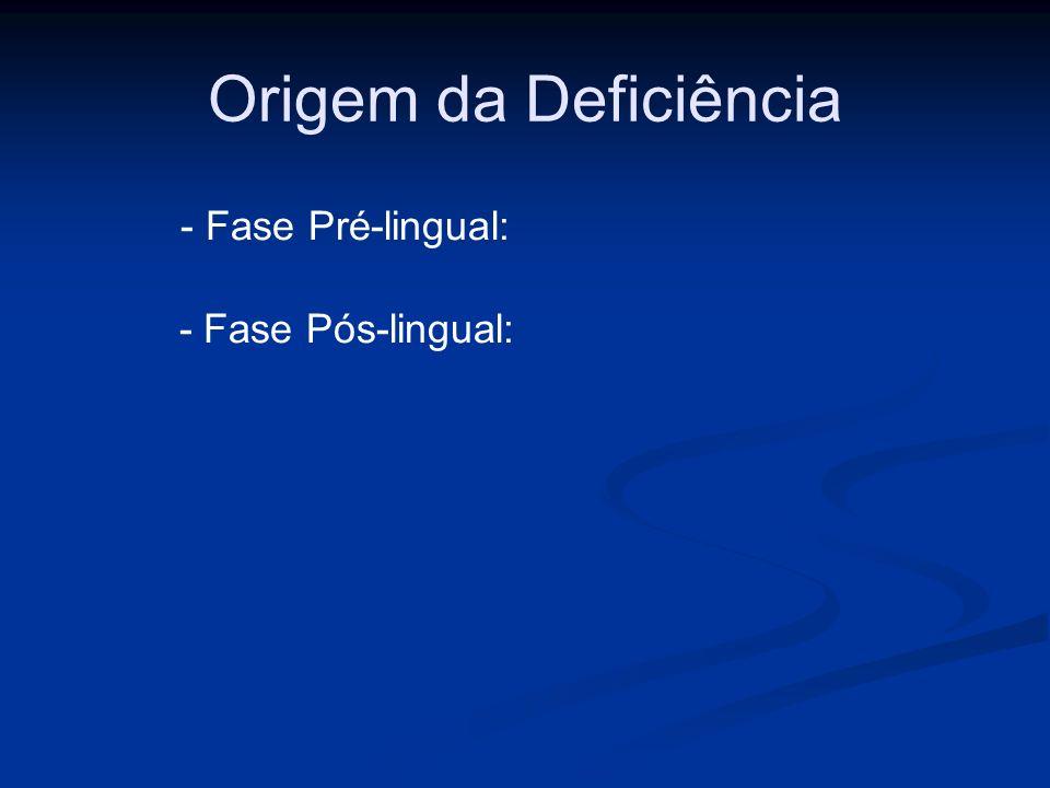 Origem da Deficiência - Fase Pré-lingual: - Fase Pós-lingual: