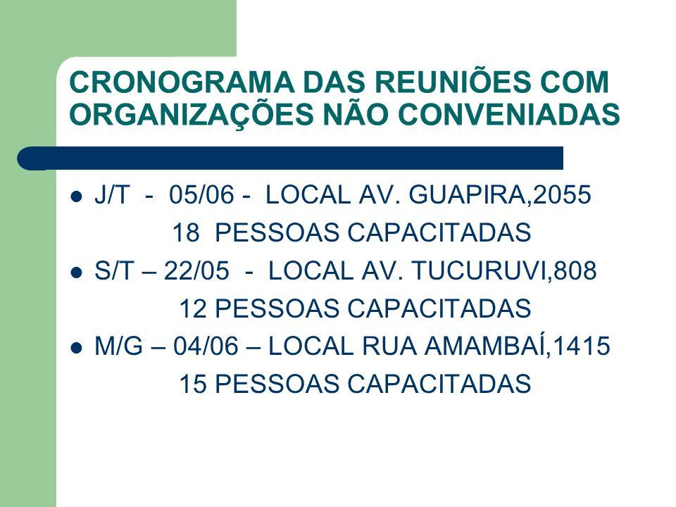 CRONOGRAMA DAS REUNIÕES COM ORGANIZAÇÕES NÃO CONVENIADAS
