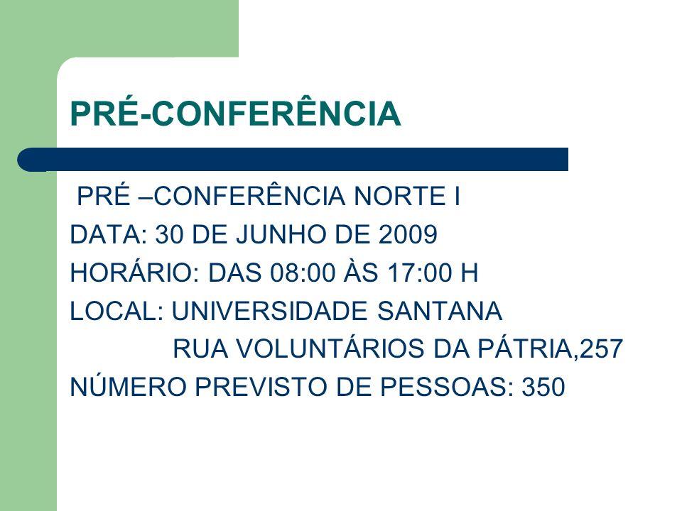 PRÉ-CONFERÊNCIA PRÉ –CONFERÊNCIA NORTE I DATA: 30 DE JUNHO DE 2009