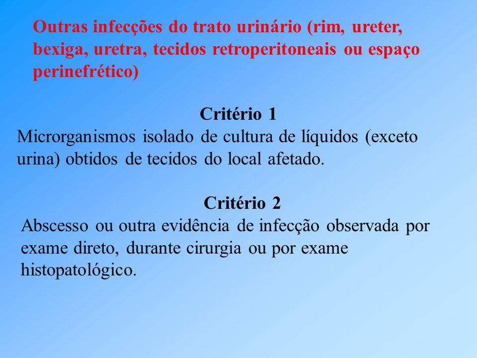 Outras infecções do trato urinário (rim, ureter, bexiga, uretra, tecidos retroperitoneais ou espaço perinefrético)