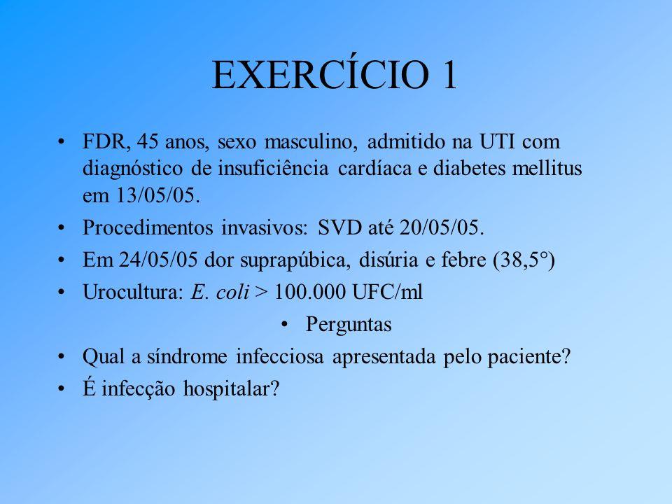 EXERCÍCIO 1 FDR, 45 anos, sexo masculino, admitido na UTI com diagnóstico de insuficiência cardíaca e diabetes mellitus em 13/05/05.