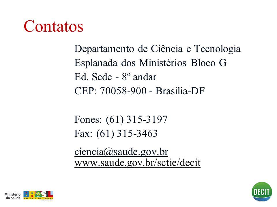 Contatos Departamento de Ciência e Tecnologia