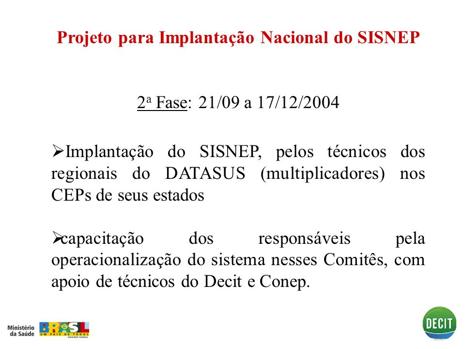 Projeto para Implantação Nacional do SISNEP
