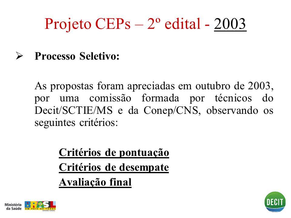 Projeto CEPs – 2º edital - 2003