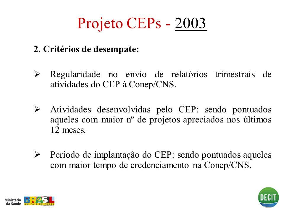 Projeto CEPs - 2003 2. Critérios de desempate: