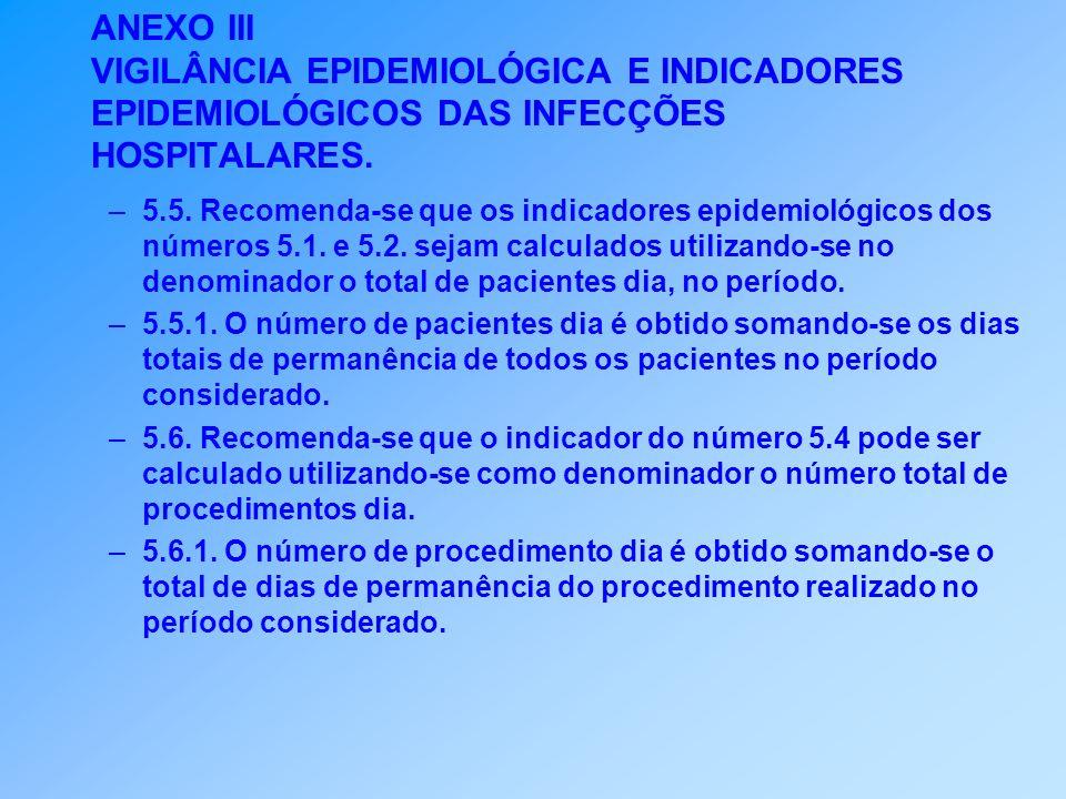 ANEXO III VIGILÂNCIA EPIDEMIOLÓGICA E INDICADORES EPIDEMIOLÓGICOS DAS INFECÇÕES HOSPITALARES.