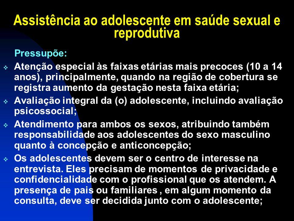 Assistência ao adolescente em saúde sexual e reprodutiva