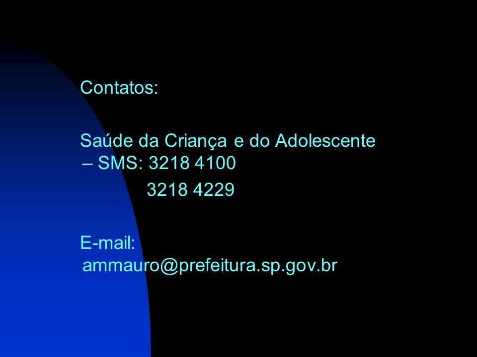 Contatos: Saúde da Criança e do Adolescente – SMS: 3218 4100.