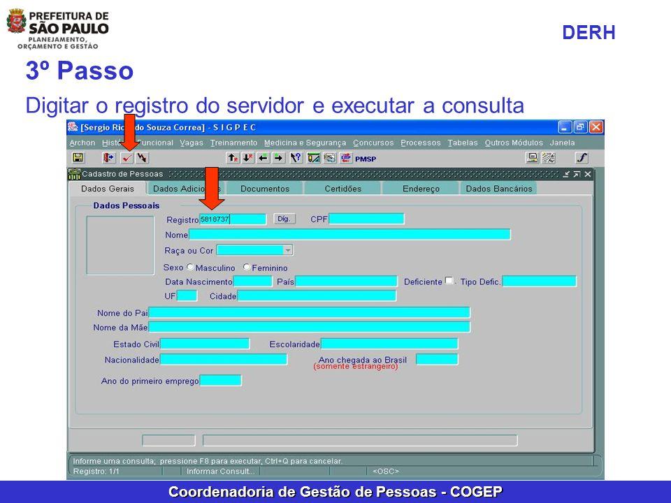 DERH 3º Passo Digitar o registro do servidor e executar a consulta