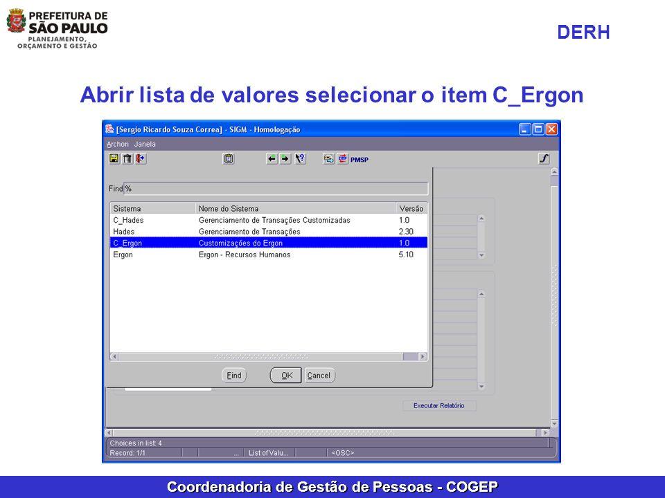 Abrir lista de valores selecionar o item C_Ergon