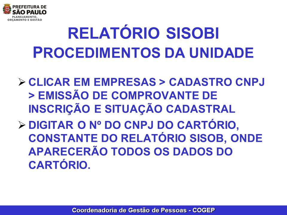 RELATÓRIO SISOBI PROCEDIMENTOS DA UNIDADE